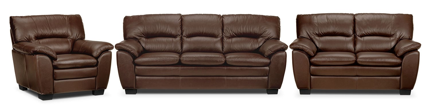 Rodero Sofa, Loveseat and Chair Set - Hazelnut