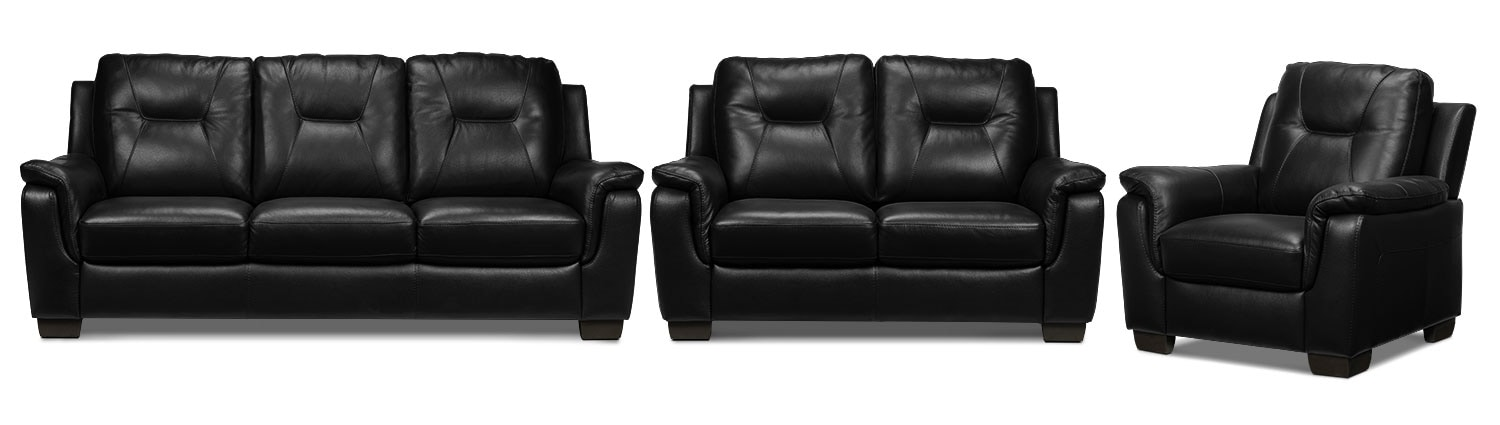Dalia Sofa, Loveseat and Chair Set - Black