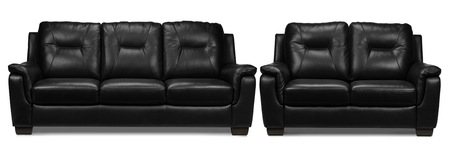 Dalia Sofa and Loveseat Set - Black