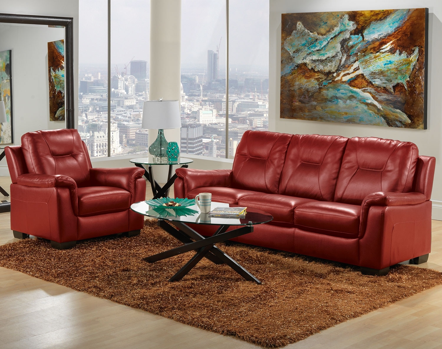 Dalia Sofa and Chair Set - Red