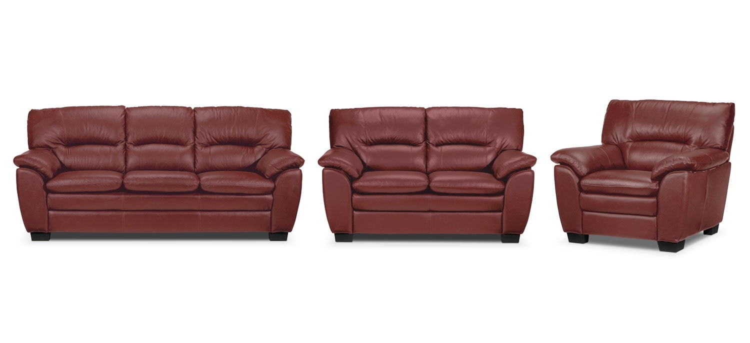Rodero Sofa, Loveseat and Chair Set - Red