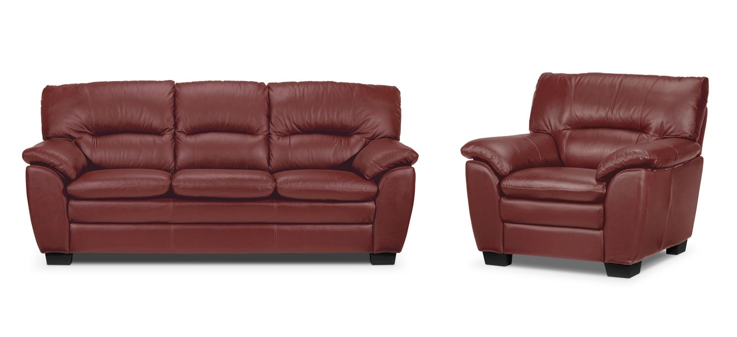 Rodero Sofa and Chair Set - Red