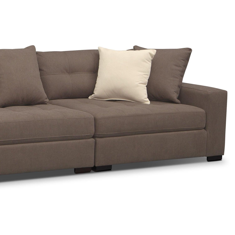 3 Pc Sectional Sofa 3 Pc Modern Brown Corduroy Sectional