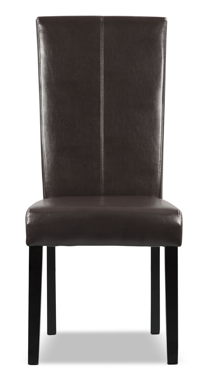 Brown faux leather dining chair united furniture warehouse for Brown leather dining chairs
