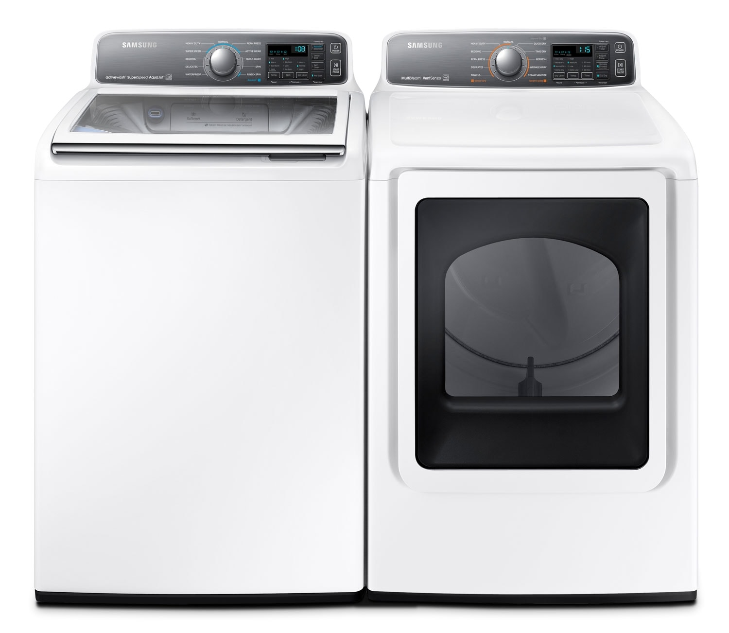 Washers and Dryers - Samsung 5.5 Cu Ft. Top-Load Washer and 7.4 Cu. Ft. Electric Steam Dryer - White