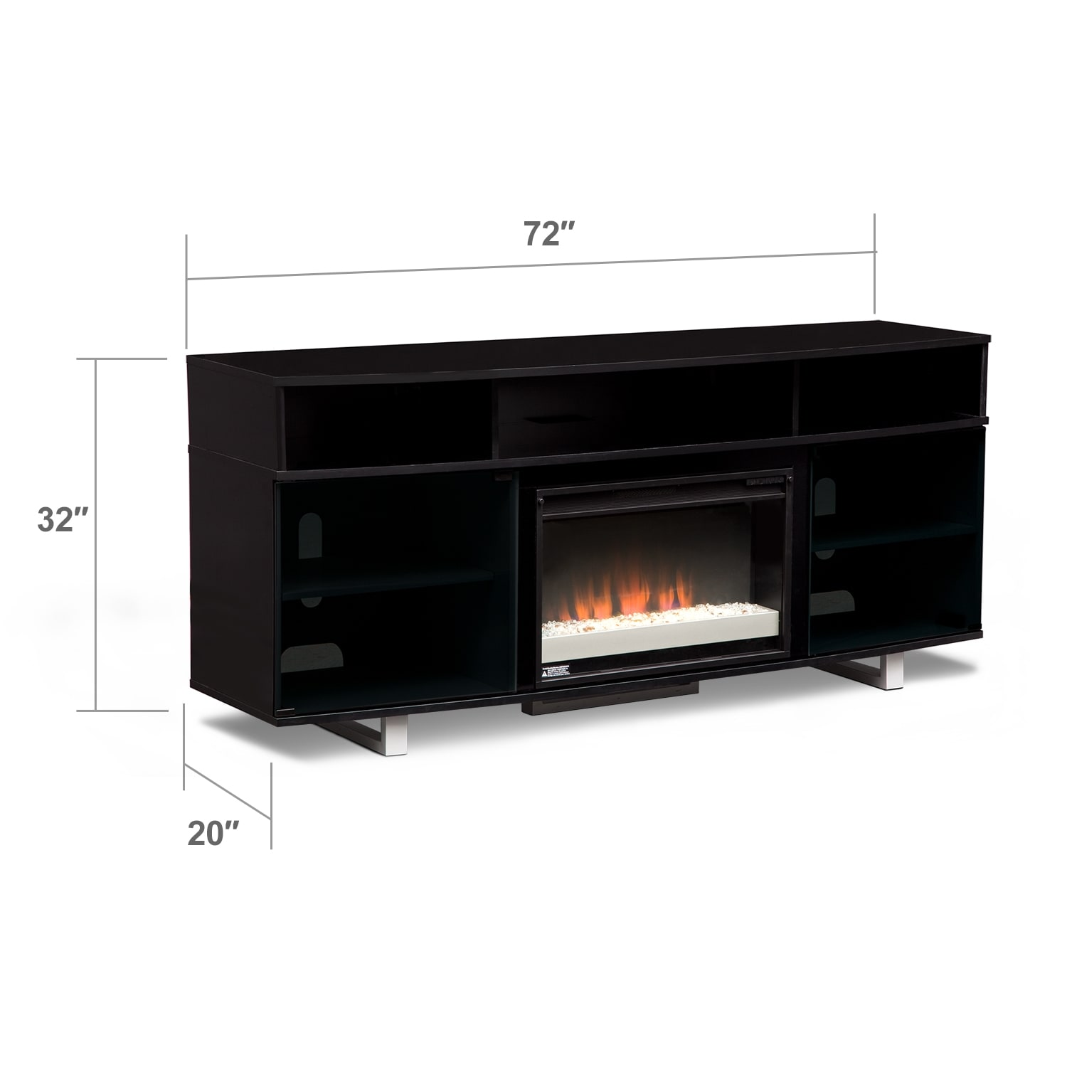 pacer 72 contemporary fireplace tv stand black value city furniture. Black Bedroom Furniture Sets. Home Design Ideas