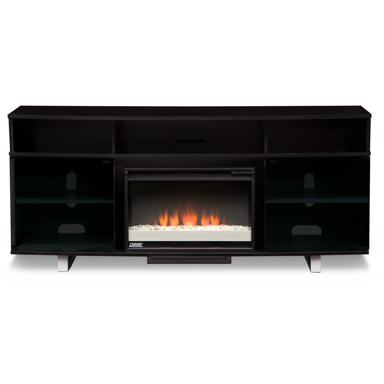 Abruzzo Black 72 Contemporary Fireplace Tv Stand