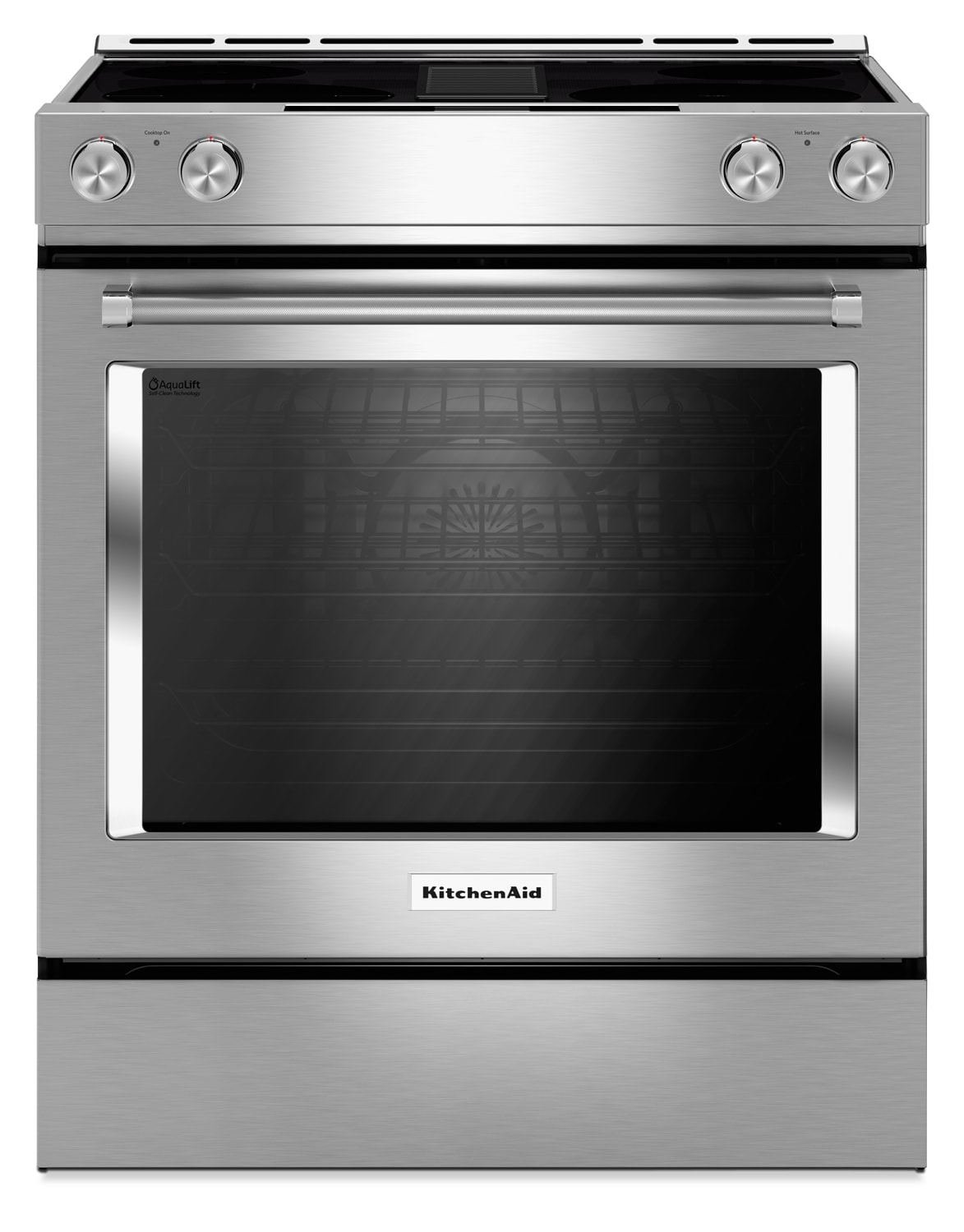 KitchenAid 6.4 Cu. Ft. 4-Burner Dual Fuel Downdraft Front Control Range - Stainless Steel