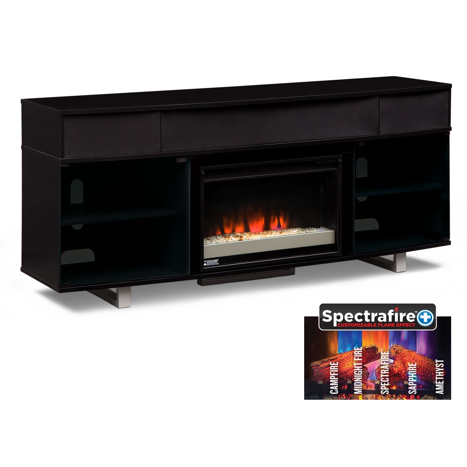 abruzzo black 72 contemporary fireplace tv stand with sound. Black Bedroom Furniture Sets. Home Design Ideas