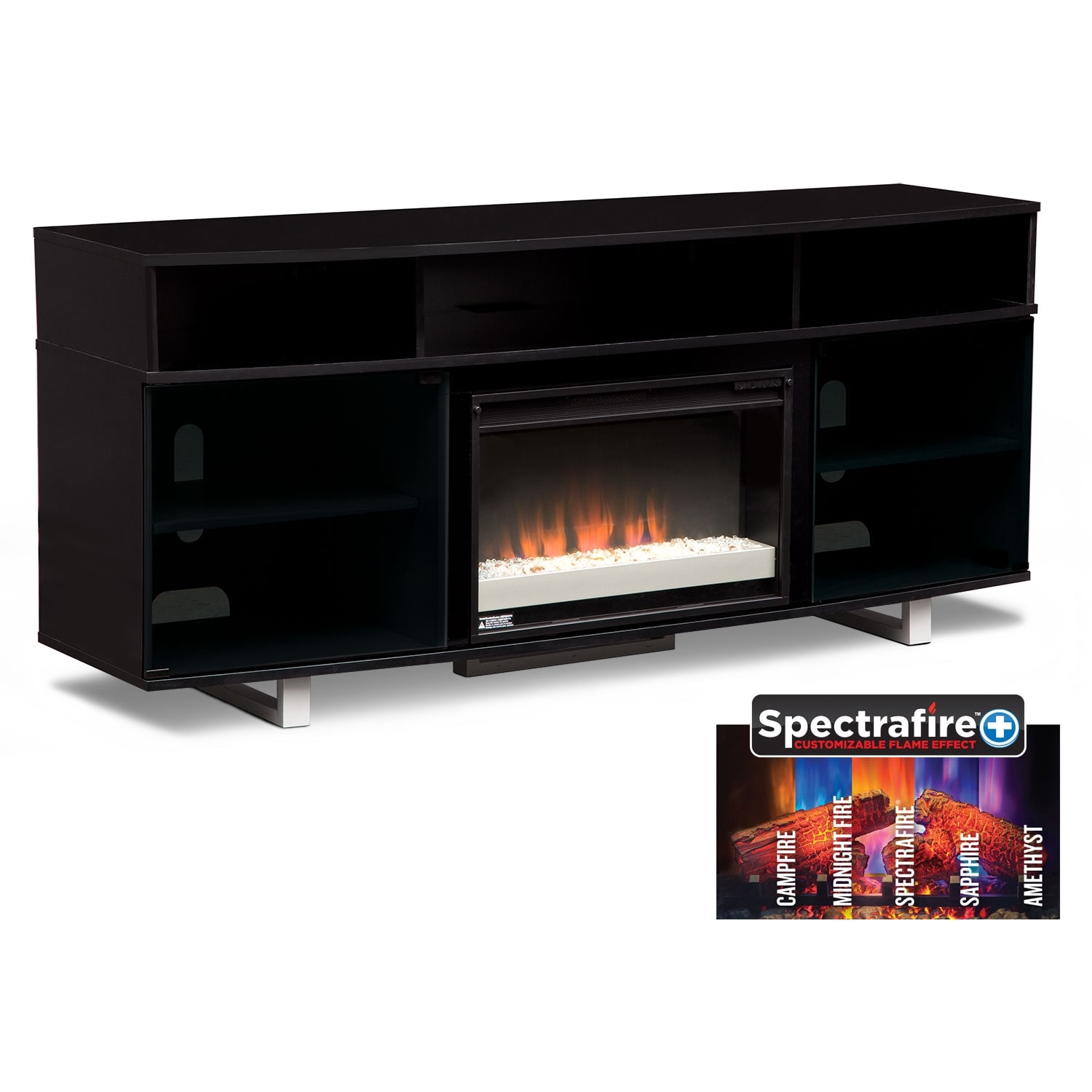 Pacer Black Entertainment Wall Units 72 Contemporary Fireplace Tv Stand American Signature