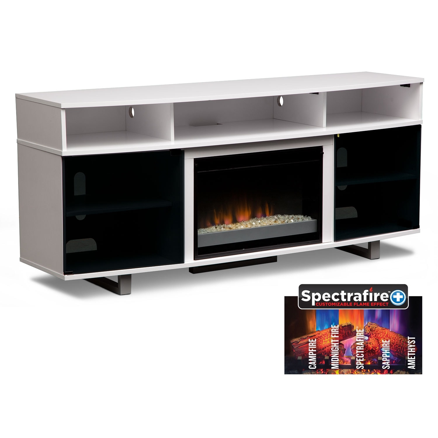 Abruzzo white 72 contemporary fireplace tv stand White tv console