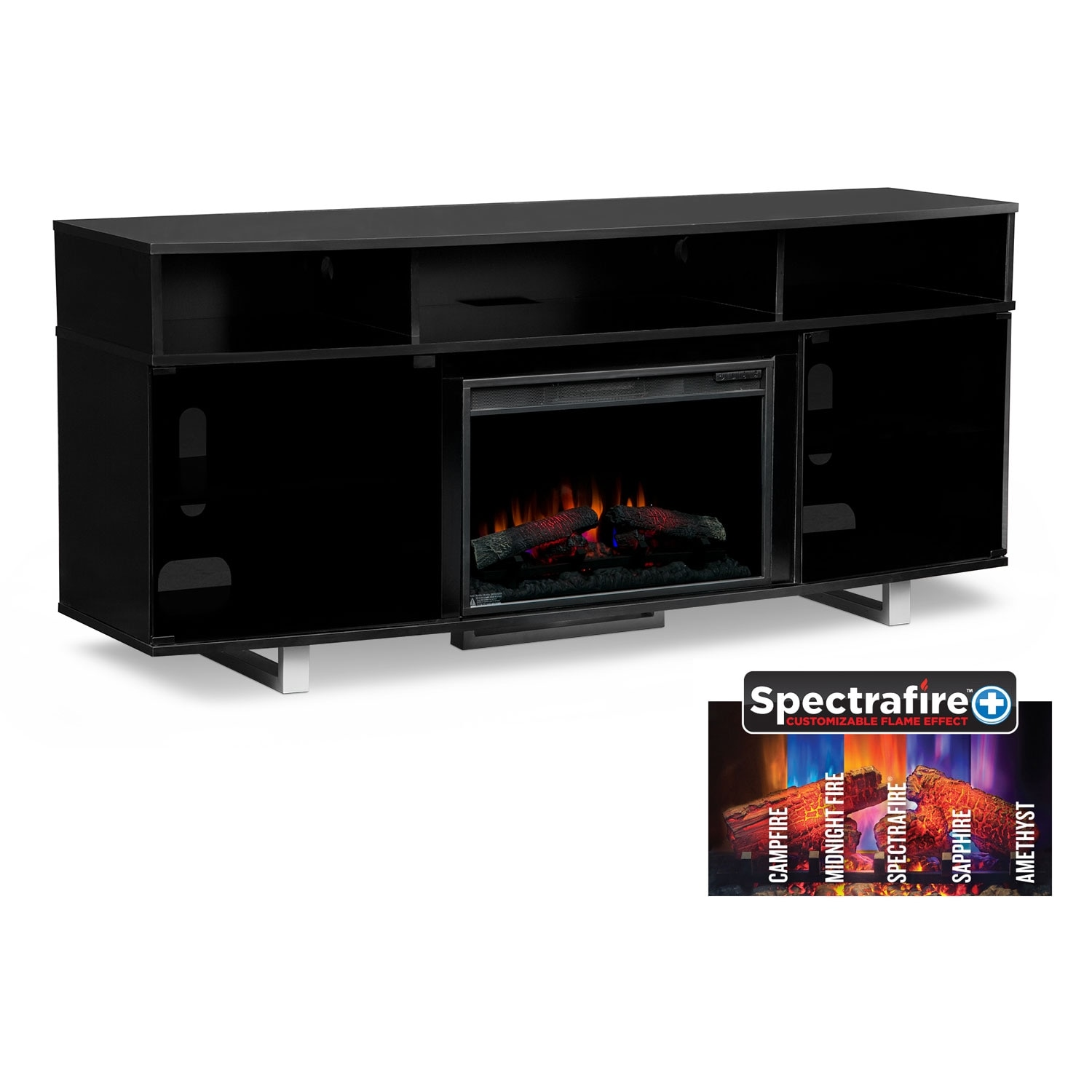 abruzzo black 72 traditional fireplace tv stand