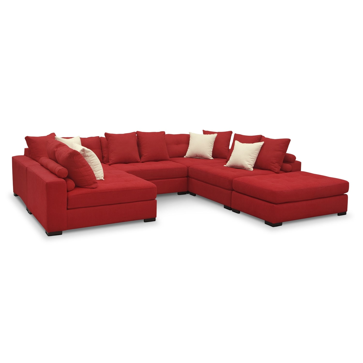 venti 6 piece sectional red american signature furniture With red sectional sofa american signature