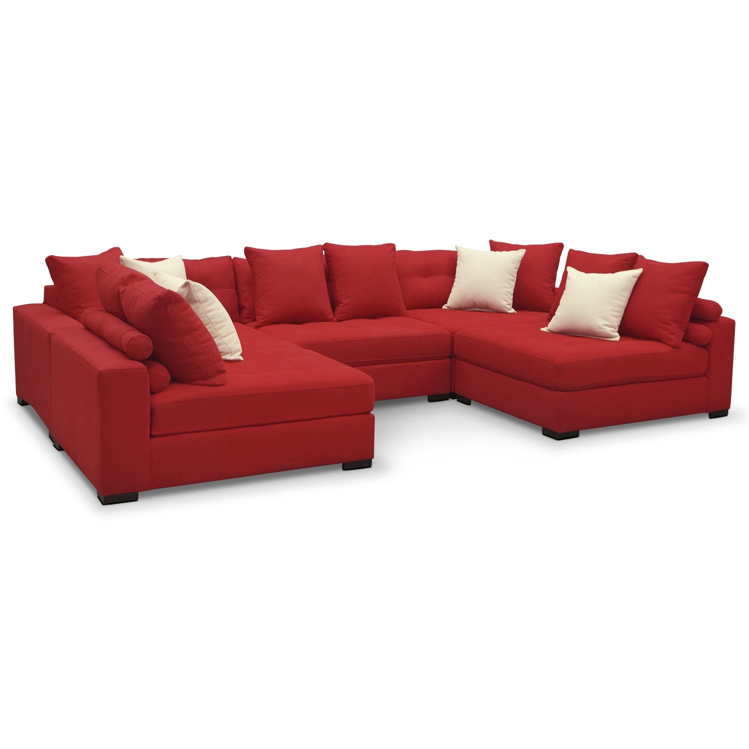 Venti red 5 pc sectional value city furniture for Red sectional sofa value city