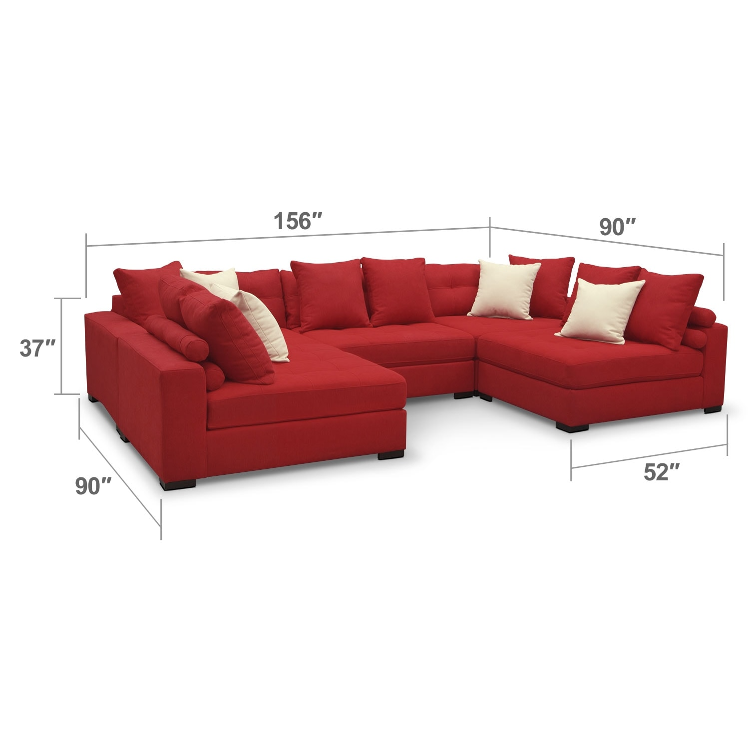 Venti Red 5 Pc Sectional