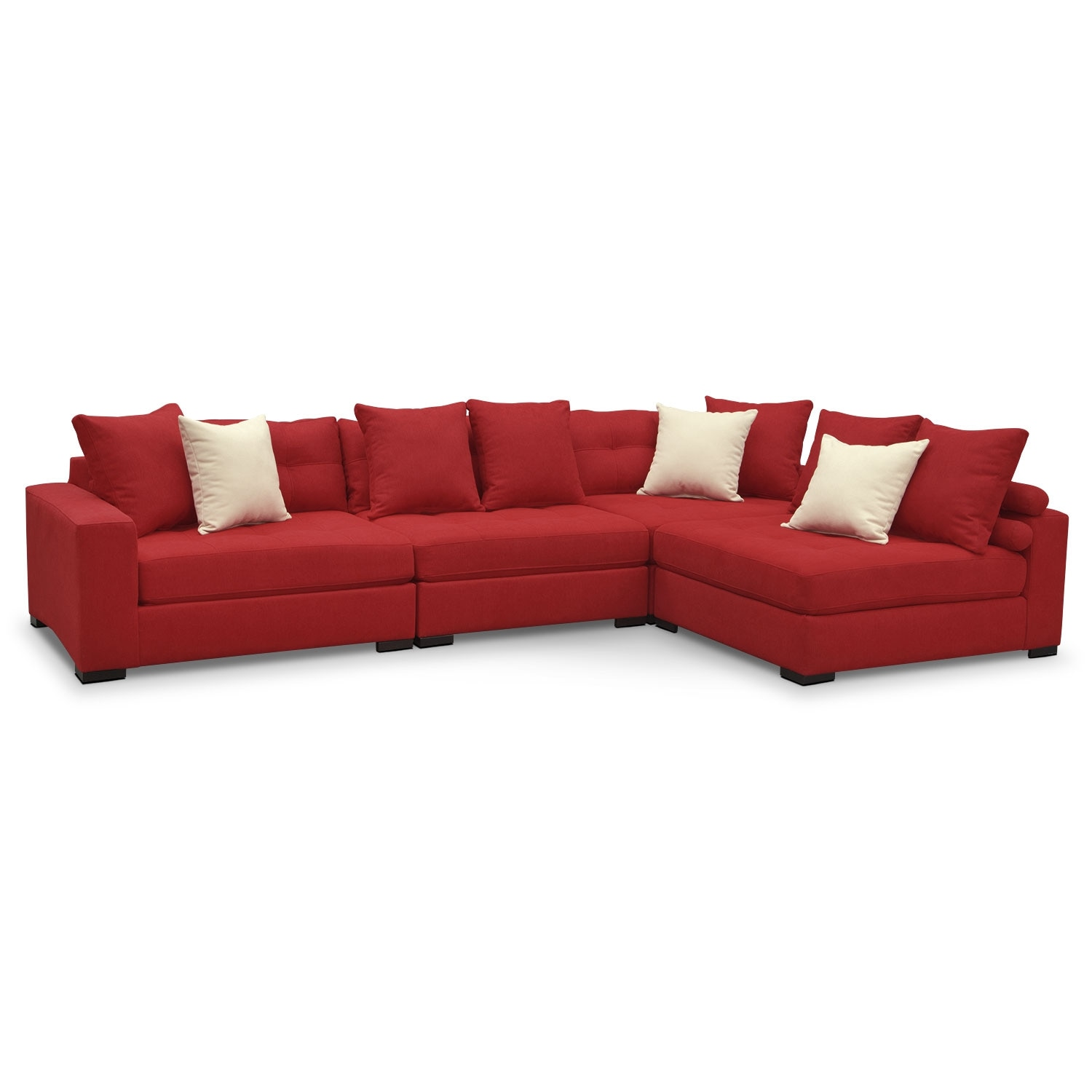 Venti 4 piece sectional red value city furniture for 4 piece living room furniture