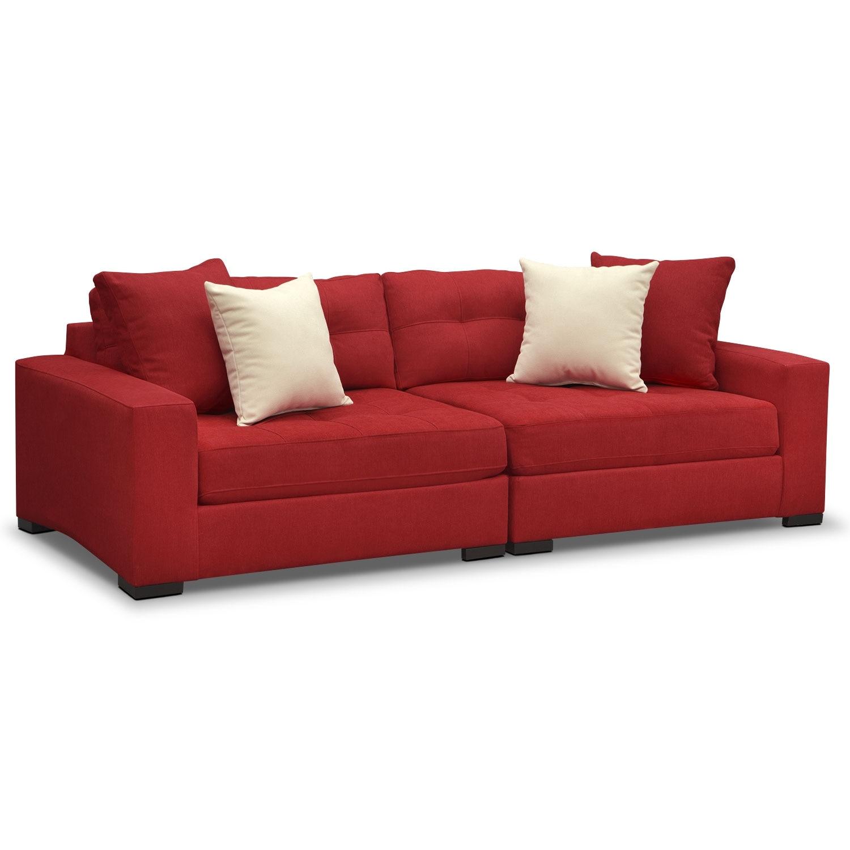 Venti red 2 pc sofa value city furniture for Sofa bed value city furniture