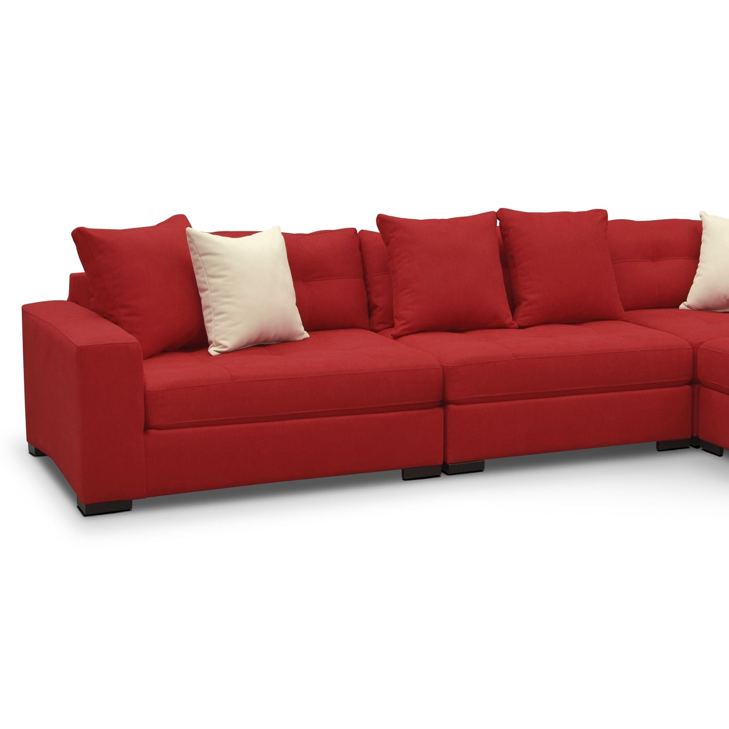Venti red 5 pc sectional w cocktail ottoman value city for Red sectional sofa value city