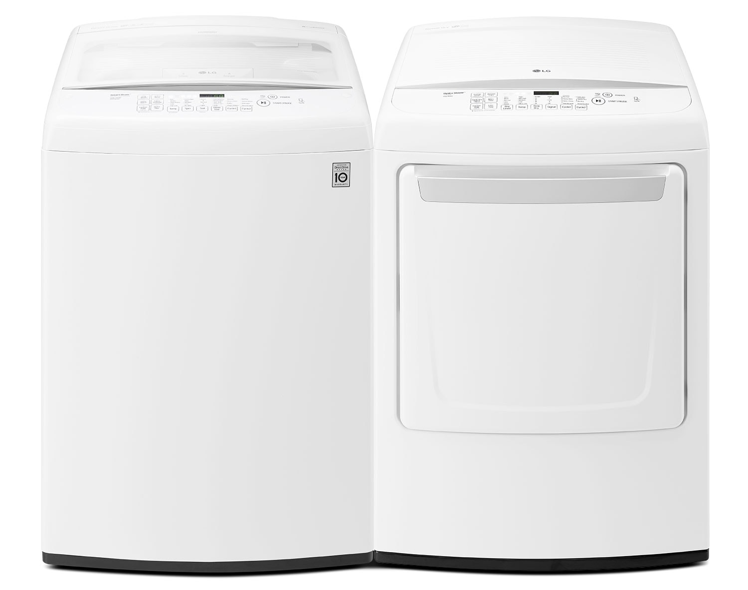 [LG White Top-Load Washer and Dryer Pair]