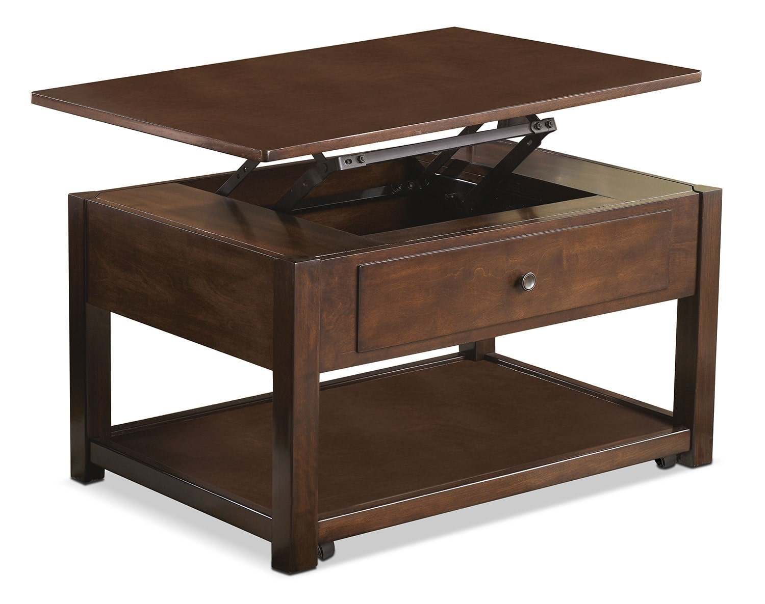 Marion coffee table with lift top and casters united furniture warehouse Coffee tables with casters
