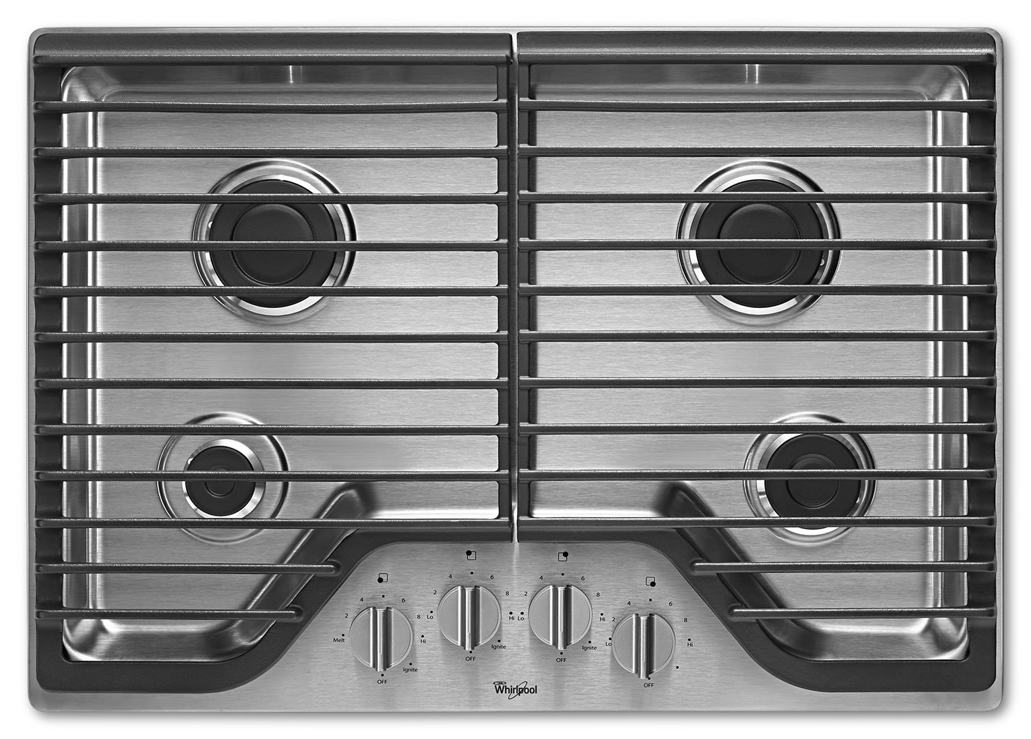 "Cooking Products - Whirlpool 30"" Gas Cooktop with SpeedHeat™ Burners - Stainless Steel"