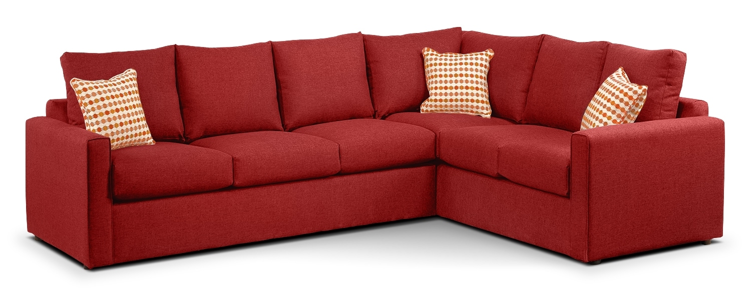 Athina Queen Sofabed Sectional - Cherry