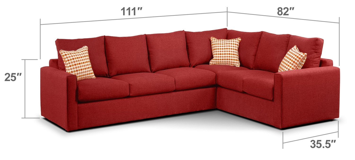 Living Room Furniture - Athina  2-Piece Left-Facing Queen Sofa Bed Sectional - Cherry