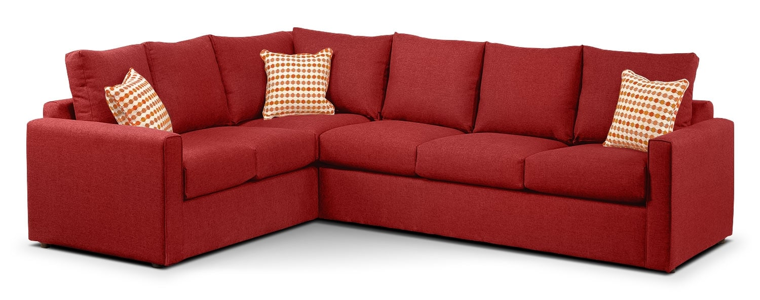 Athina 2 Piece Right Facing Queen Sofa Bed Sectional Cherry