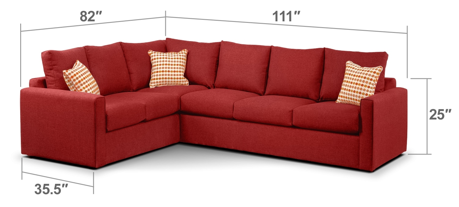 Living Room Furniture - Athina 2-Piece Right-Facing Queen Sofa Bed Sectional - Cherry