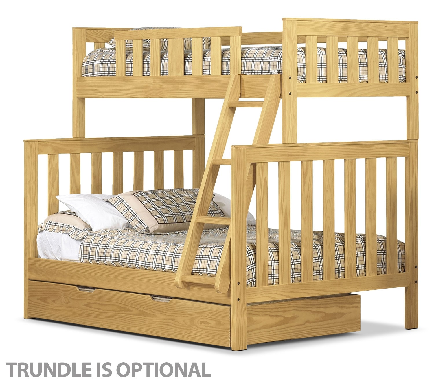 Bedroom Furniture - Taylor Twin/Full Bunk Bed - Golden Oak