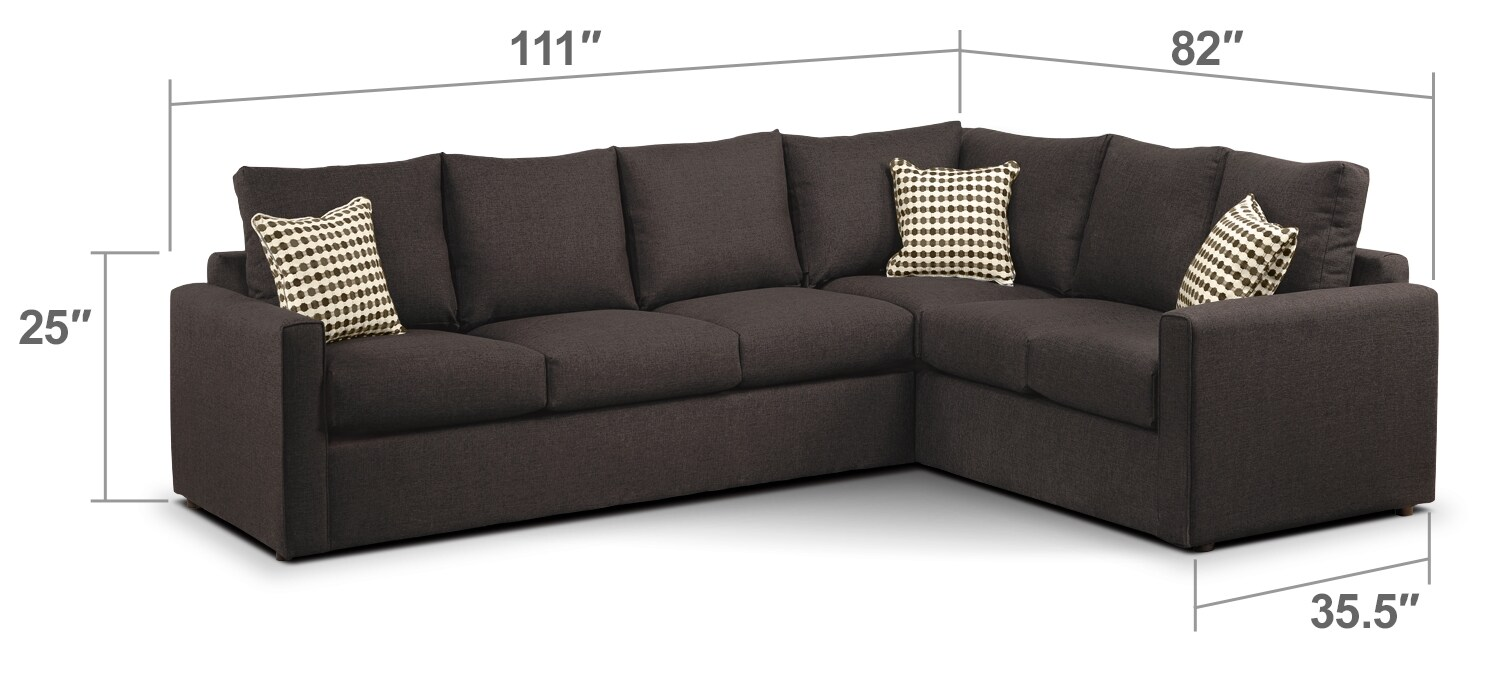 Athina 2 Piece Left Facing Queen Sofa Bed Sectional