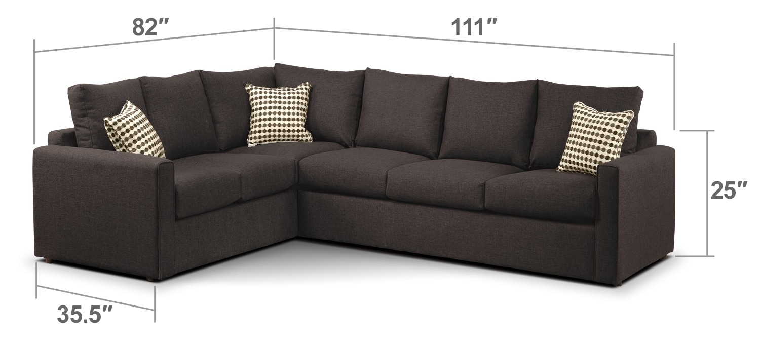 Athina 2 piece right facing queen sofa bed sectional for Sofa bed 60 inches