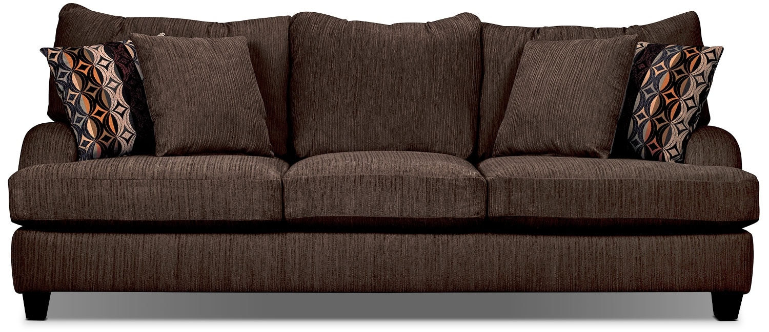 Living Room Furniture - Putty Chenille Sofa - Chocolate