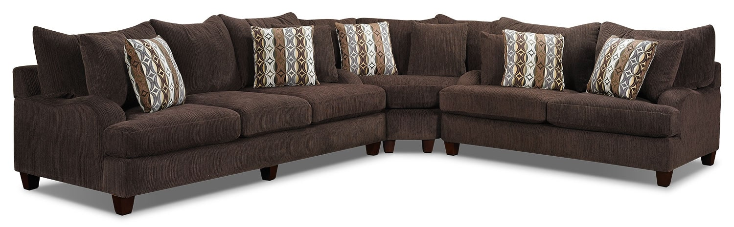 Living Room Furniture - Putty Chenille 3-Piece Sectional - Chocolate
