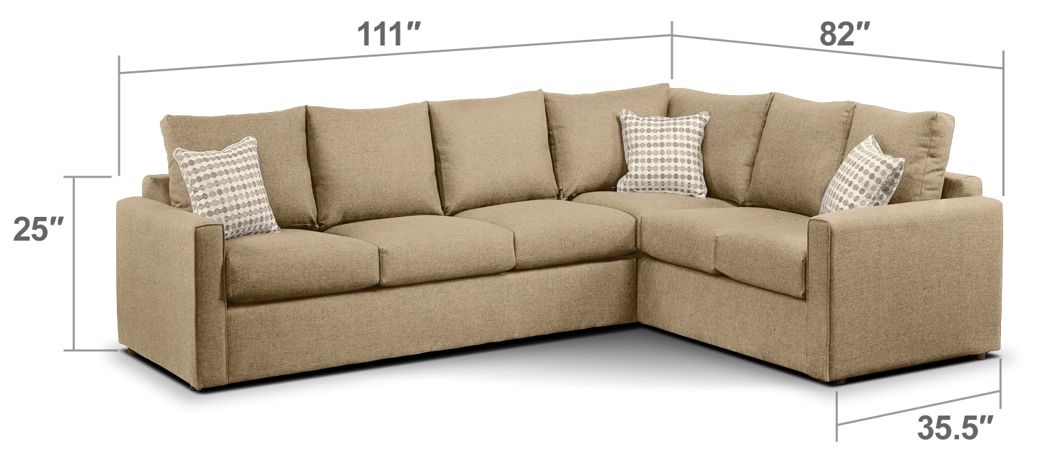 Living Room Furniture - Athina 2-Piece Left-Facing Queen Sofa Bed Sectional - Mushroom