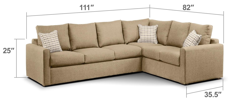 Athina 2 piece left facing queen sofa bed sectional for Two piece sectional sofa bed