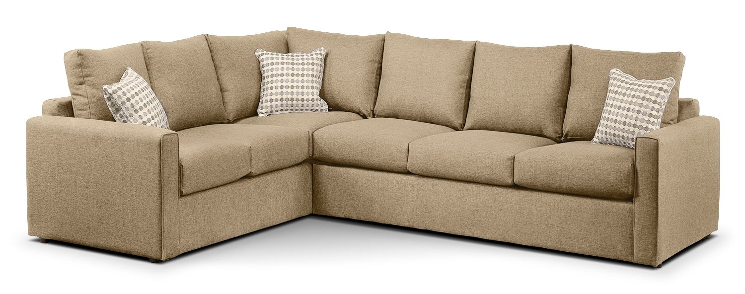 Living Room Furniture - Athina 2-Piece Right-Facing Queen Sofa Bed Sectional - Mushroom
