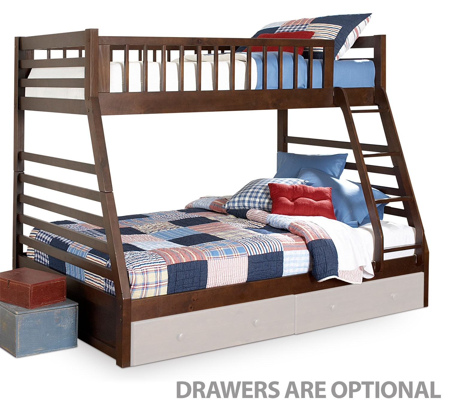 Kids Furniture - Starship Bunk Bed Set - Chocolate Cherry