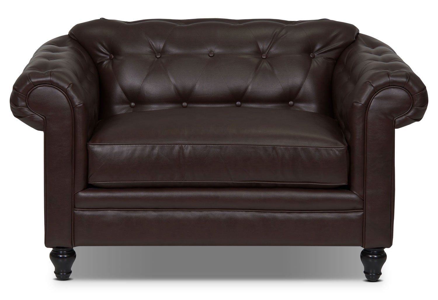 Living Room Furniture - Julia Bonded Leather Chair-and-a-Half - Cognac