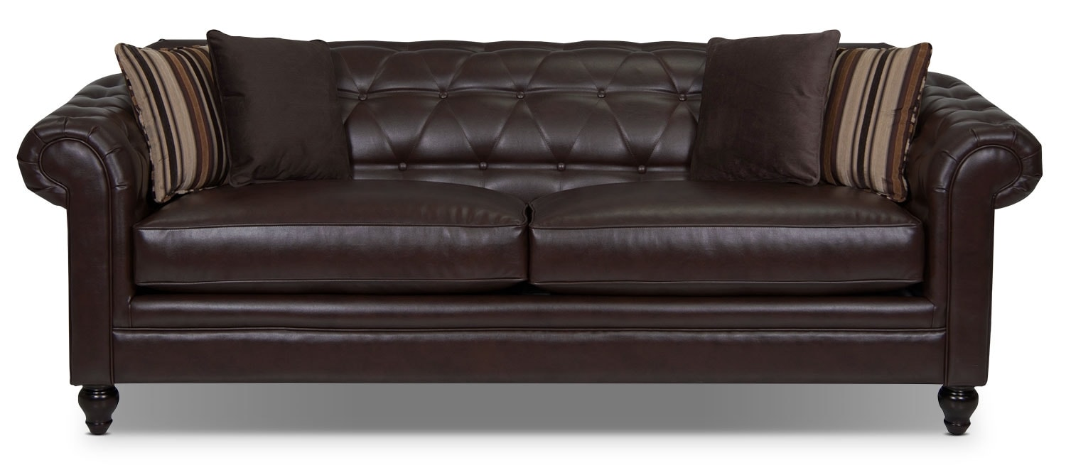 Living Room Furniture - Julia Bonded Leather Sofa - Cognac