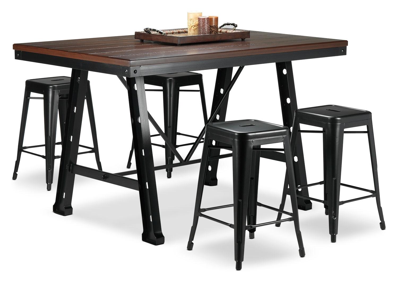 Stanton 5-Piece Dinette Set - Black and Walnut