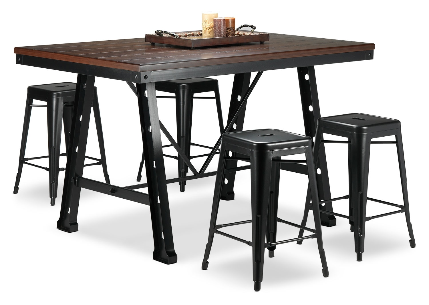 Casual Dining Room Furniture - Stanton 5-Piece Dinette Set - Black and Walnut