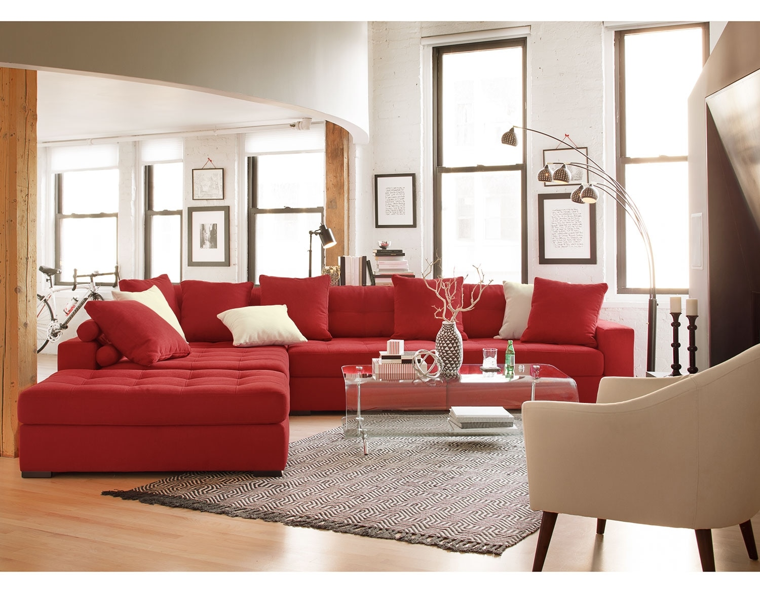 The venti collection red value city furniture for Red sectional sofa value city