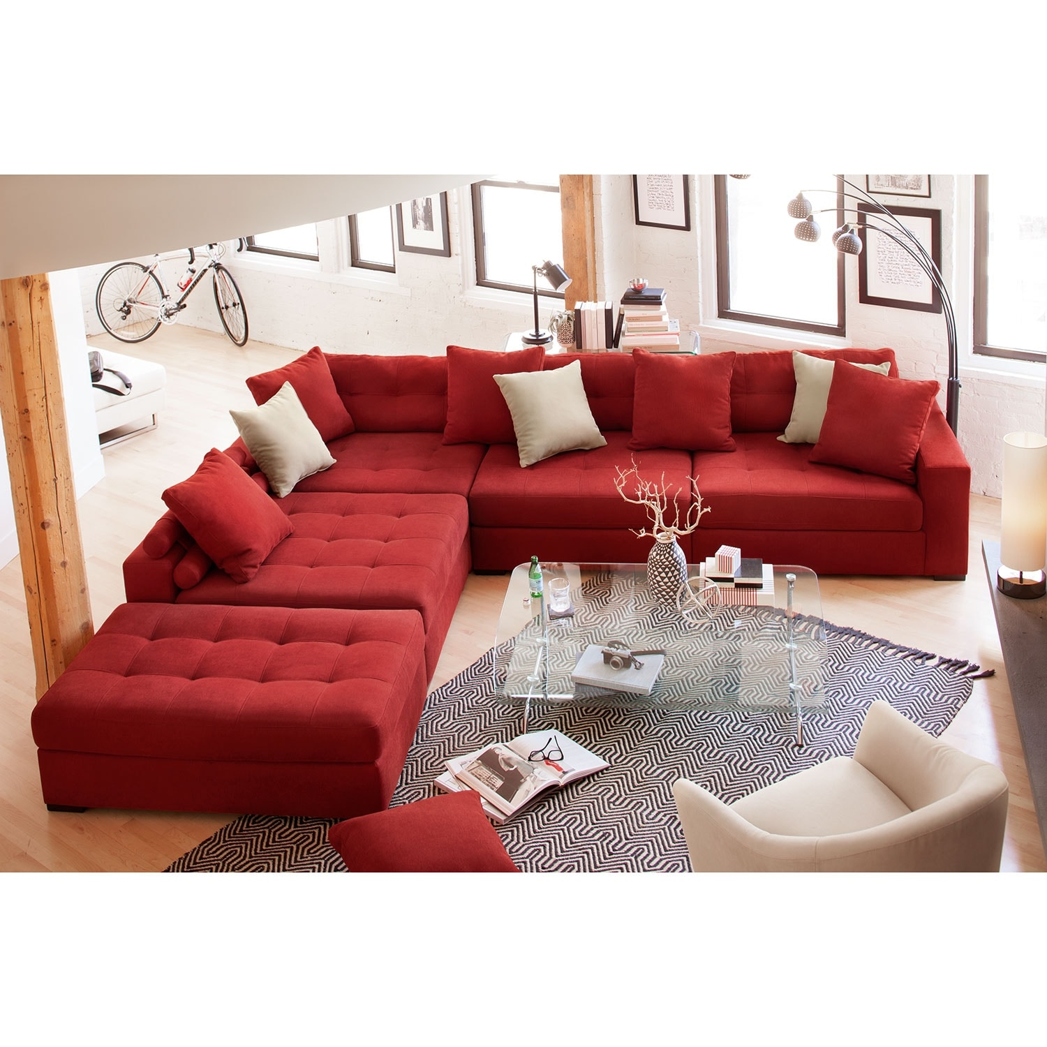 Venti 5 piece sectional with cocktail ottoman red for Red sectional sofa value city