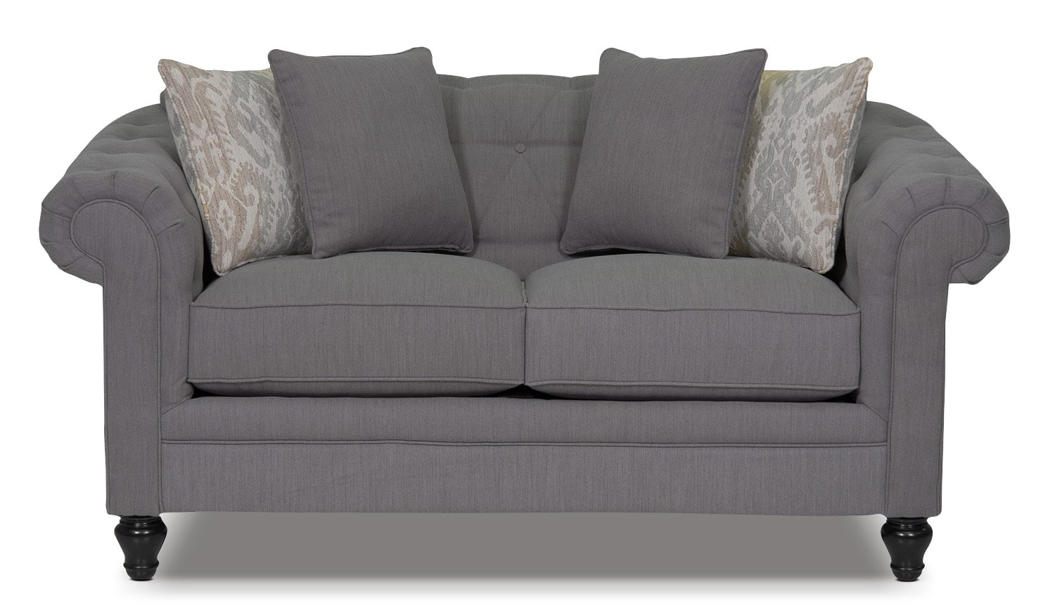 Living Room Furniture - Julia Chenille Loveseat - Grey