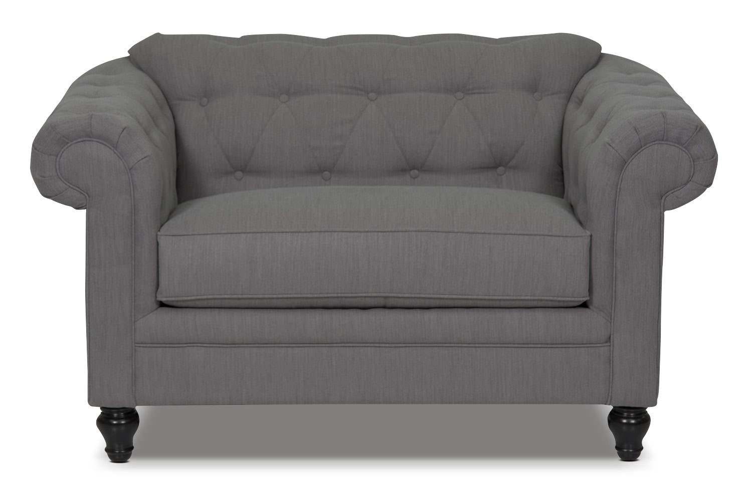 Living Room Furniture - Julia Chenille Chair-and-a-Half - Grey