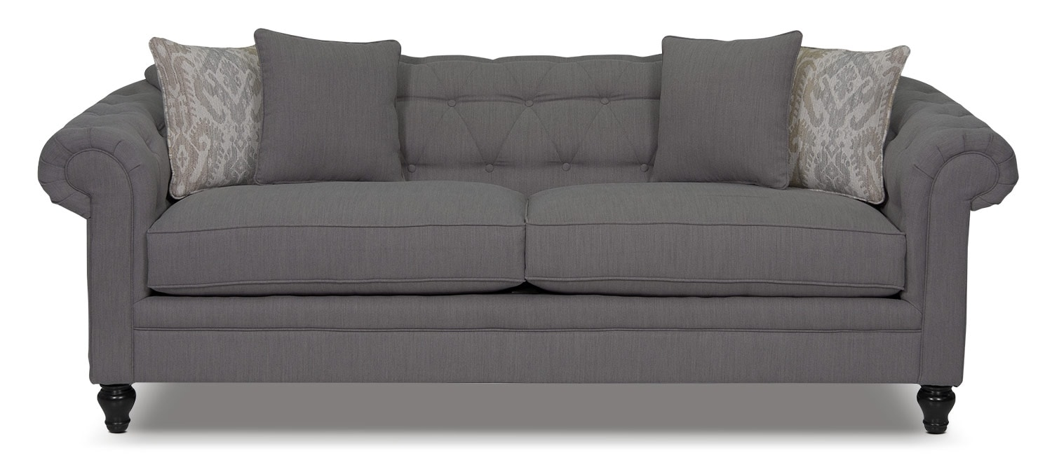 Living Room Furniture - Julia Chenille Sofa - Grey