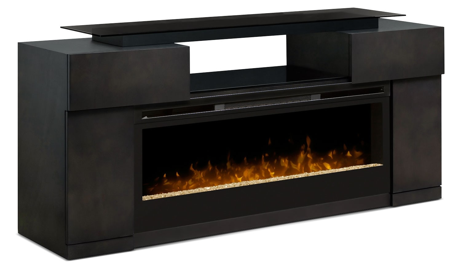 "Entertainment Furniture - Concord 73"" TV Stand with Glass Ember Firebox"