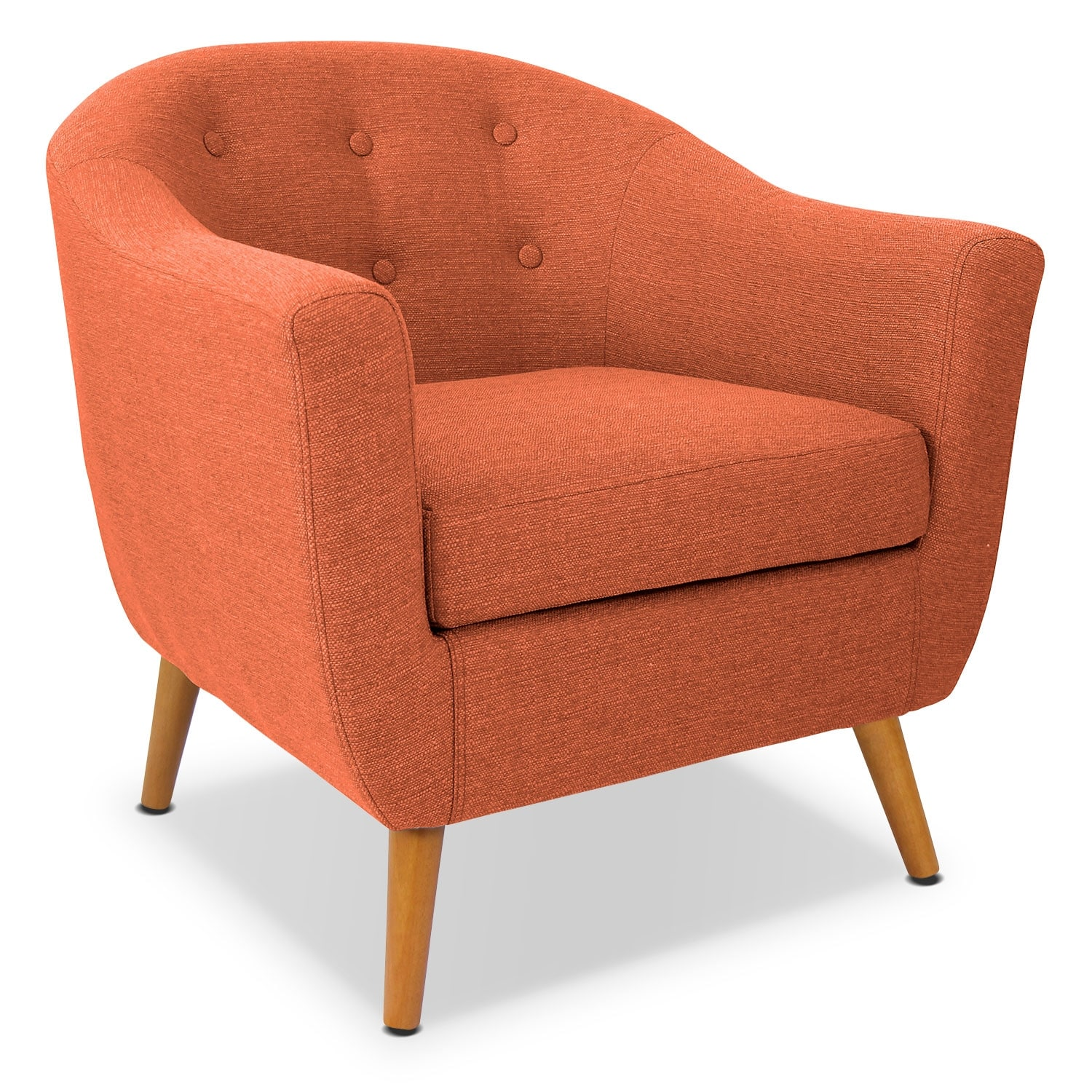 Norman accent chair orange american signature furniture for Orange living room chairs