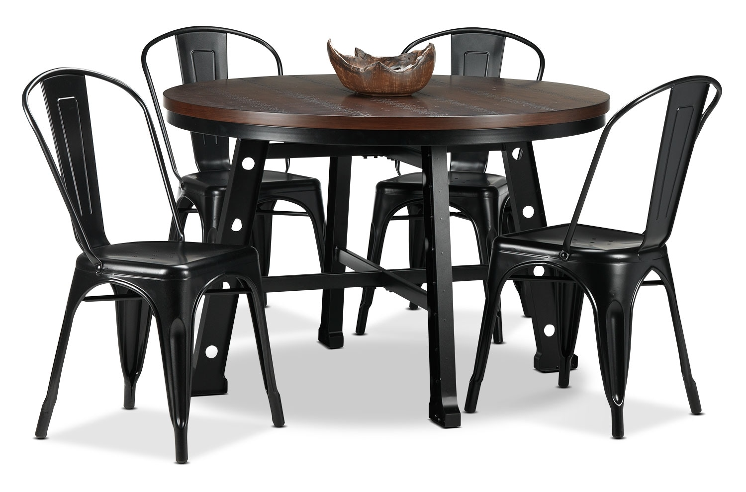 Casual Dining Room Furniture - Stockton 5-Piece Dinette Set - Black and Walnut